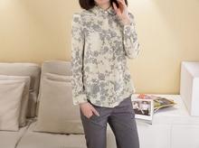 New pattern 100% female silk long-sleeve shirt comfort classy fashion shirts printing shirts crepe de chin knitted blouses-b146