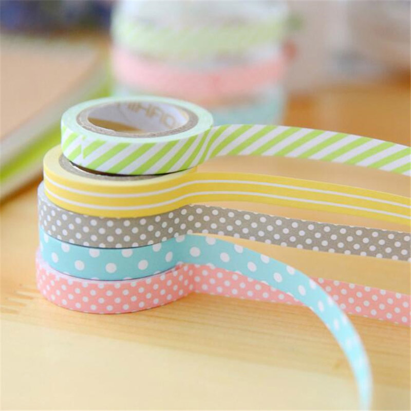 5 pcs lot diy cute kawaii candy color washi tape lovely dot stripe decorative tape for