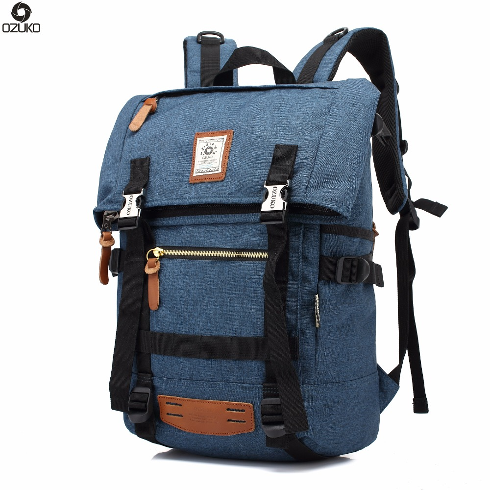 OZUKO Hot Multi-function High Capacity Men Backpack Waterproof Nylon Travel Bag Laptop Backpacks School bags mochila masculina pretty style high quality men backpack solid men s travel bags canvas bag mochila masculina bolsa laptop school backpack li 1263