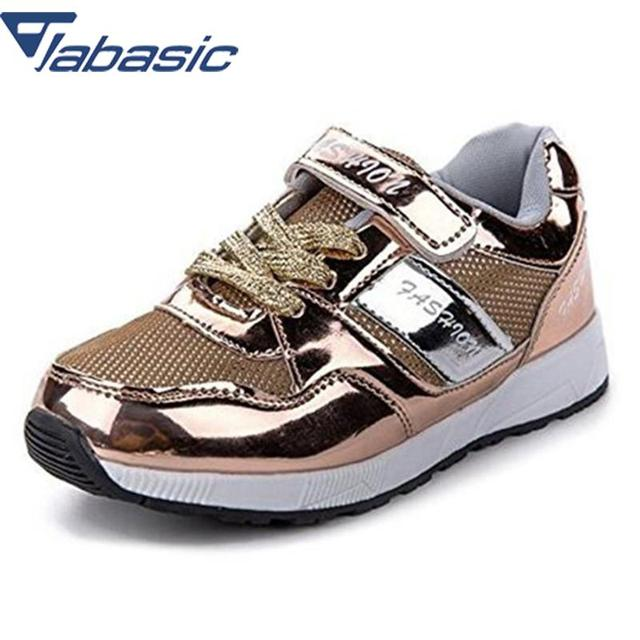 JABASIC Sports Shoes For Boys Sneakers 2018 New Brand Outdoor Glitter  Sneaker Breathable Kids Running Shoe Gold Shoe School Shoe cde89862e717