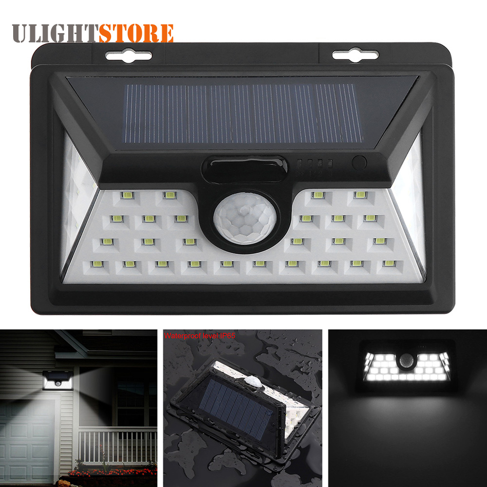 Outdoor Waterproof 34 LED White Solar Power Light PIR Motion Sensor Security Wall Lamp 3 Modes for Garden Yard Street Pathway