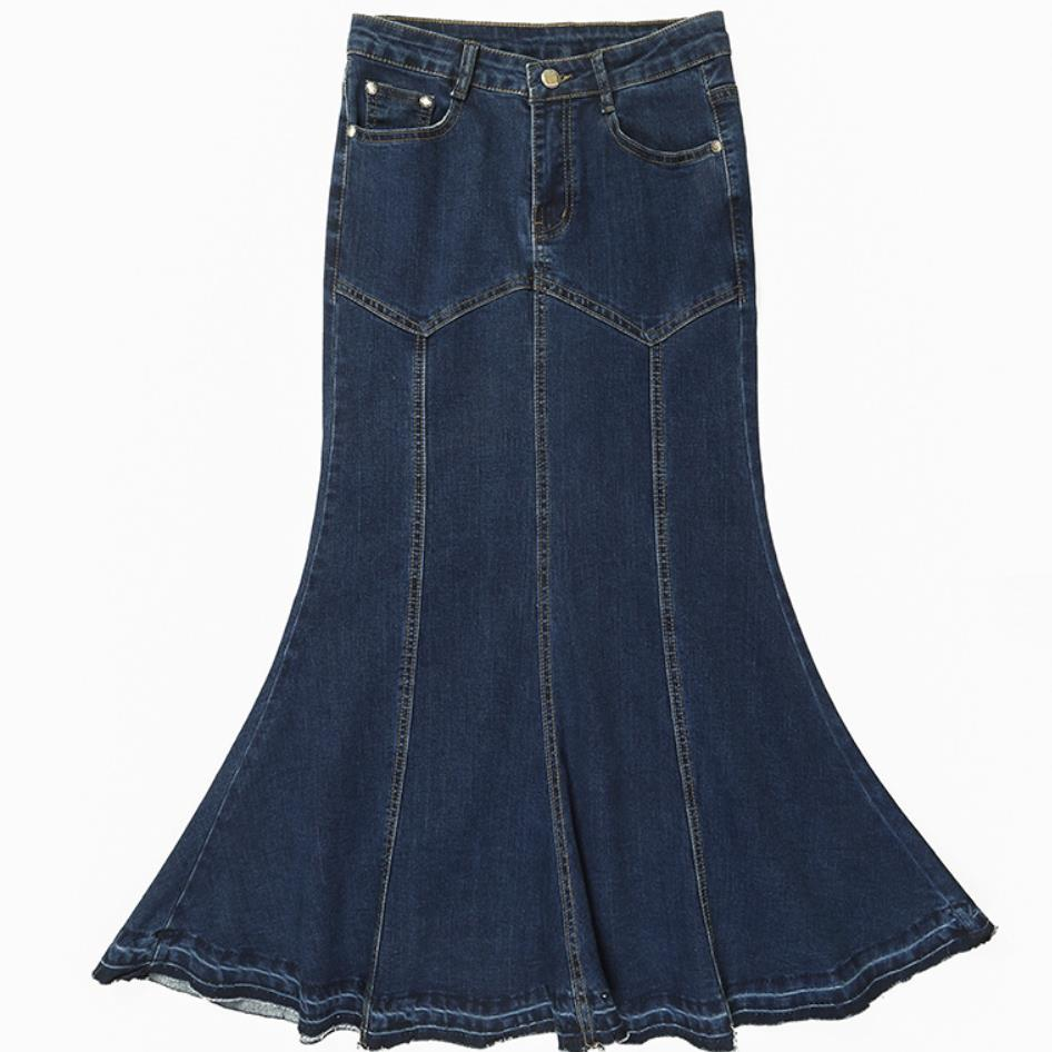 Plus Size S-9XL! Fashion Long Maxi Denim Jeans Skirts For Women Mermaid Trumpet Skirts Stretch Ladies Jeans Skirts