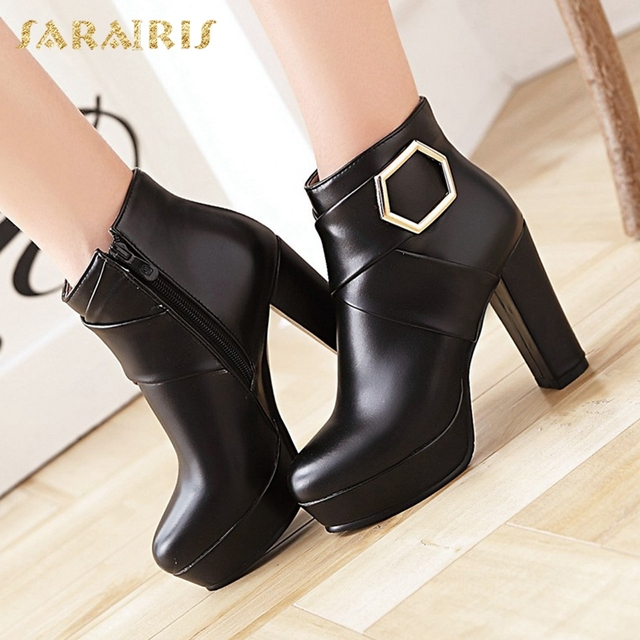 a2bec6efc12 SARAIRIS 2018 Big Size 34-43 Woman Ankle Boots Fashion Trendy High Heels  Zip Up women s Shoes Platform Party Woman Booties