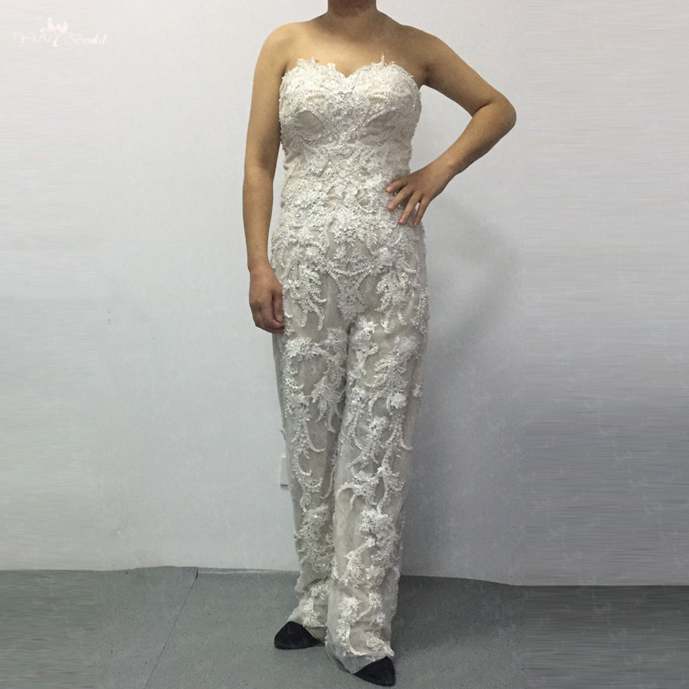 c37f1e7c094 Detail Feedback Questions about LZ286 Sweetheart Neckline Luxury Beaded  Flowers Lace Womens Jumpsuit Detachable Long Satin Train Wedding Dress on  ...