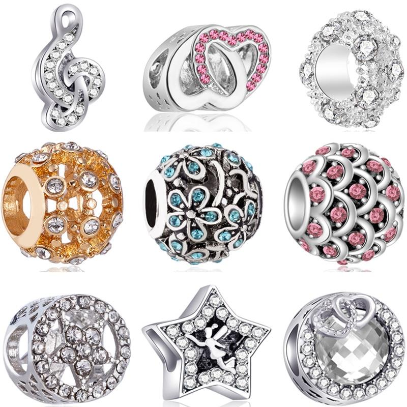 Роскошный маленький массивный шар Шаньтоу, музыка, цветы, звезды, кристалл шармы бусины, подходят для Pandora, браслеты для женщин, сделай сам