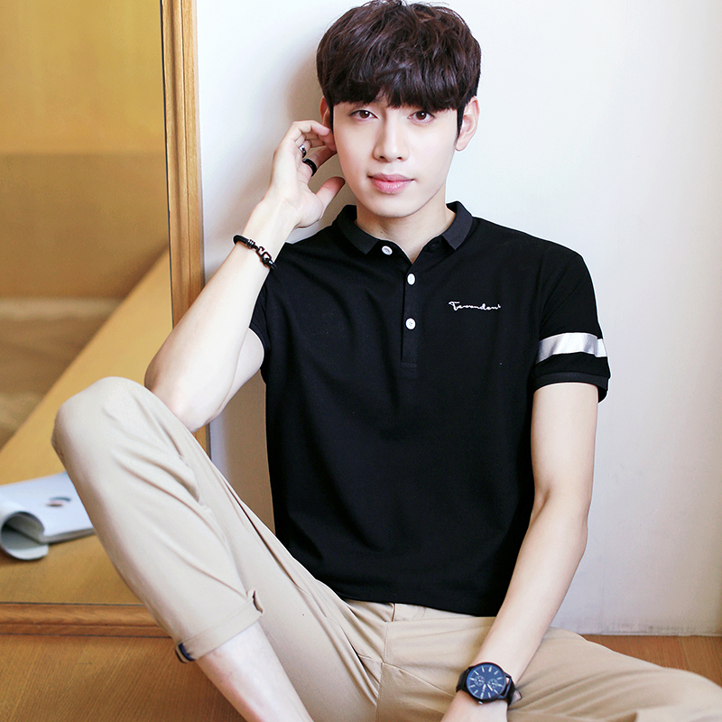 2018 Men's   Polo   Shirt Korean Lapel Men's Short Sleeve slim shirt Men's Summer Cotton shirt