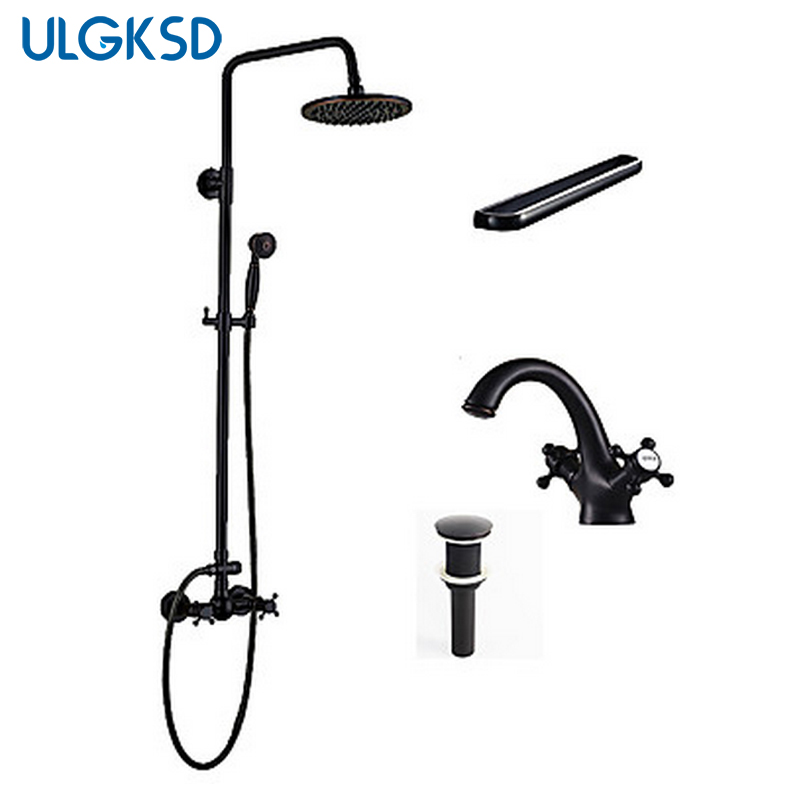 ULGKSD Shower Faucet 8 inch shower head +Hand shower +Basin Faucet +Towel Shelf +Pup up Drain Oil rubbed bronze Mixer Taps