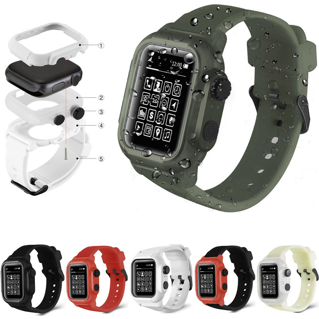 low priced 8ff7b 8770c US $17.93 35% OFF|Aliexpress.com : Buy Waterproof Shock Proof Impact  Resistant Case for Apple Watch Series 4 3 2 Soft Silicone Band for iWatch  Band ...