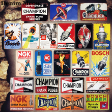 Champion Plaque Vintage Metal Tin Signs Home Bar Garage Decor Metal Plates Spark Plug Service Wall Stickers Art Poster MN14 champion spark plug iridium 9803 rc8wmp4 champion oe188t10