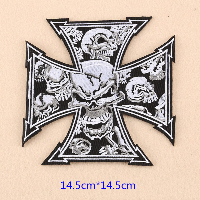 Large biker patches for vest cross patches Iron On Embroidered skeleton ghost finger badge for Clothing DIY modify accessories