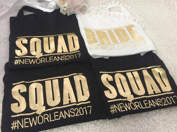 Personalized Text Wedding Bride Squad Tank Tops