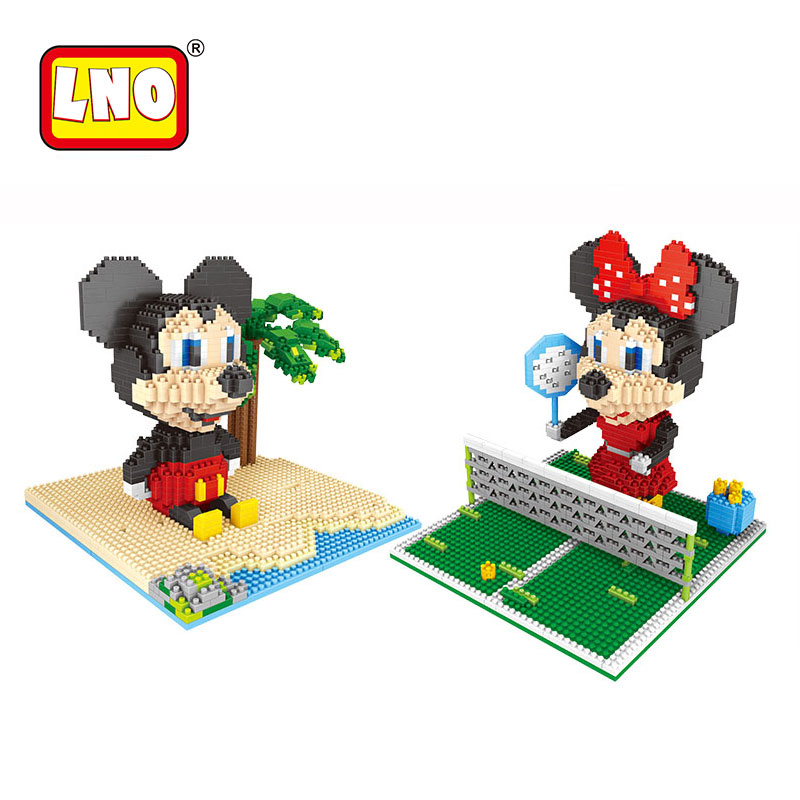 LNO action&toy figures big size diy Mickey models nanoblock mini diamond building blocks bricks micro educational toys for kids.