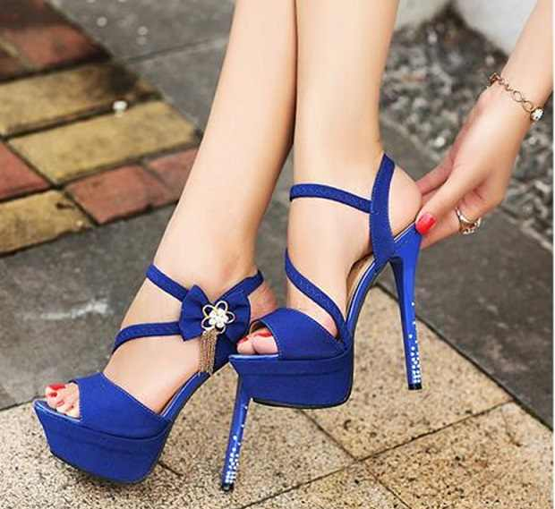 2019 NEW FASHION 11CM summer BLUE ROSE BLACK fish mouth sandals high heel flower shoes fashion women's sandals