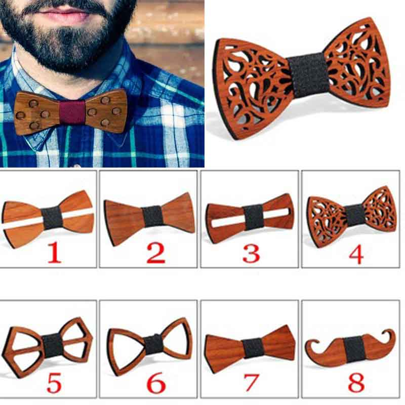 Bow-Tie Adjustable-Strap Wooden Retro Vintage Hollow-Out Men For Unisex Carved