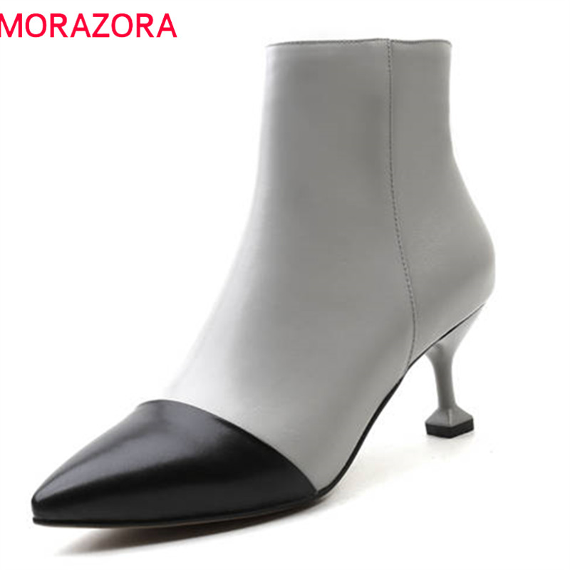 MORAZORA 2018 new arrival genuine leather boots women mixed colors fashion ankle boots sexy stiletto high heels shoes womanMORAZORA 2018 new arrival genuine leather boots women mixed colors fashion ankle boots sexy stiletto high heels shoes woman