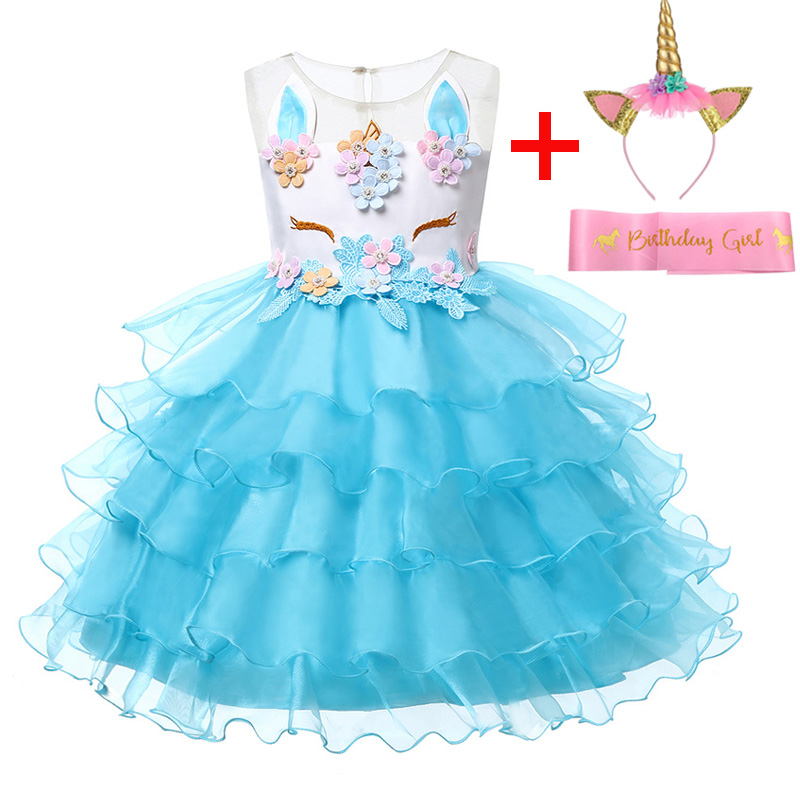 e9b9b36b83f98 Dropwow Unicorn Party Girls Christmas Dress Princess Kids Dresses ...