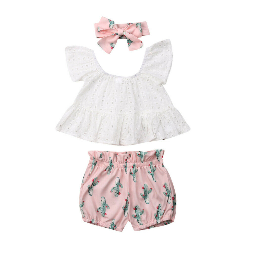 Pudcoco 2019 Summer Toddler Baby Girl Clothes Off Shoulder Lace Tops Cactus Print Shorts Headband Summer Kids Outfits Set 3pcsPudcoco 2019 Summer Toddler Baby Girl Clothes Off Shoulder Lace Tops Cactus Print Shorts Headband Summer Kids Outfits Set 3pcs
