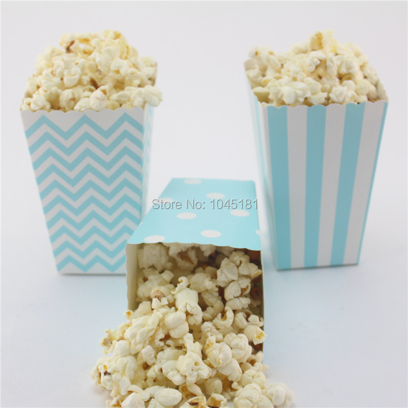 ipalmay 120pcs Mini Dot Chevron Striped Blue Paper Party Popcorn Boxes for Movie Theatre