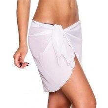 Sexy Women Beach Bikini Cover Up Solid Pareo Chiffon Wrap Skirt Sarong Scarf Beachwear Bathing Suit Beachwear Swimsuit