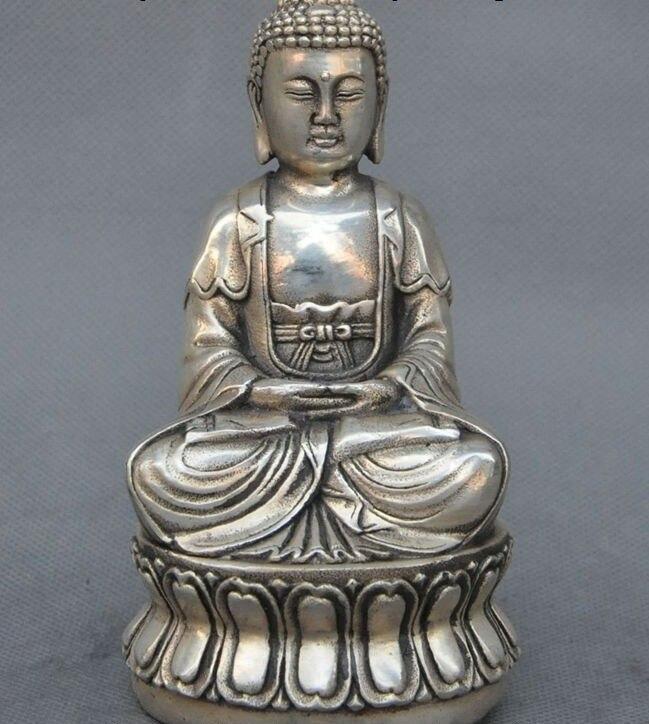 Old Tibet Buddhism Fane Joss Silver sakyamuni Shakyamuni Amitabha buddha StatueOld Tibet Buddhism Fane Joss Silver sakyamuni Shakyamuni Amitabha buddha Statue