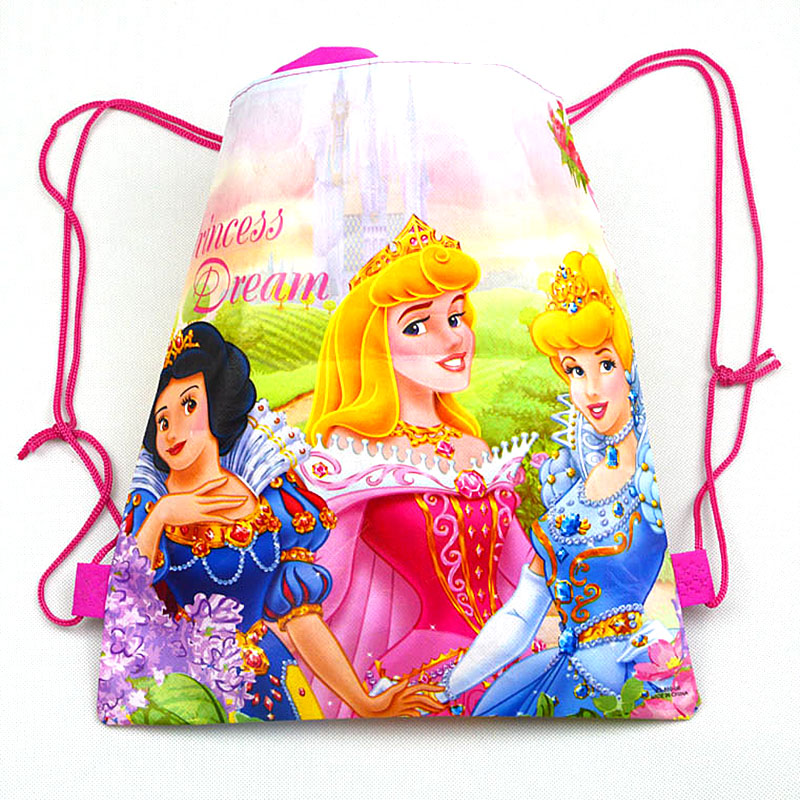 Image 3 - 1pc Disney Princess Kids Favors Baby Shower Non Woven Backpack Drawstring Bags Birthday Party Decoration Supplies-in Gift Bags & Wrapping Supplies from Home & Garden