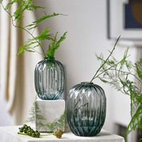 Glass vase living room home decoration flower arrangement dried flower art garden Chinese style simple