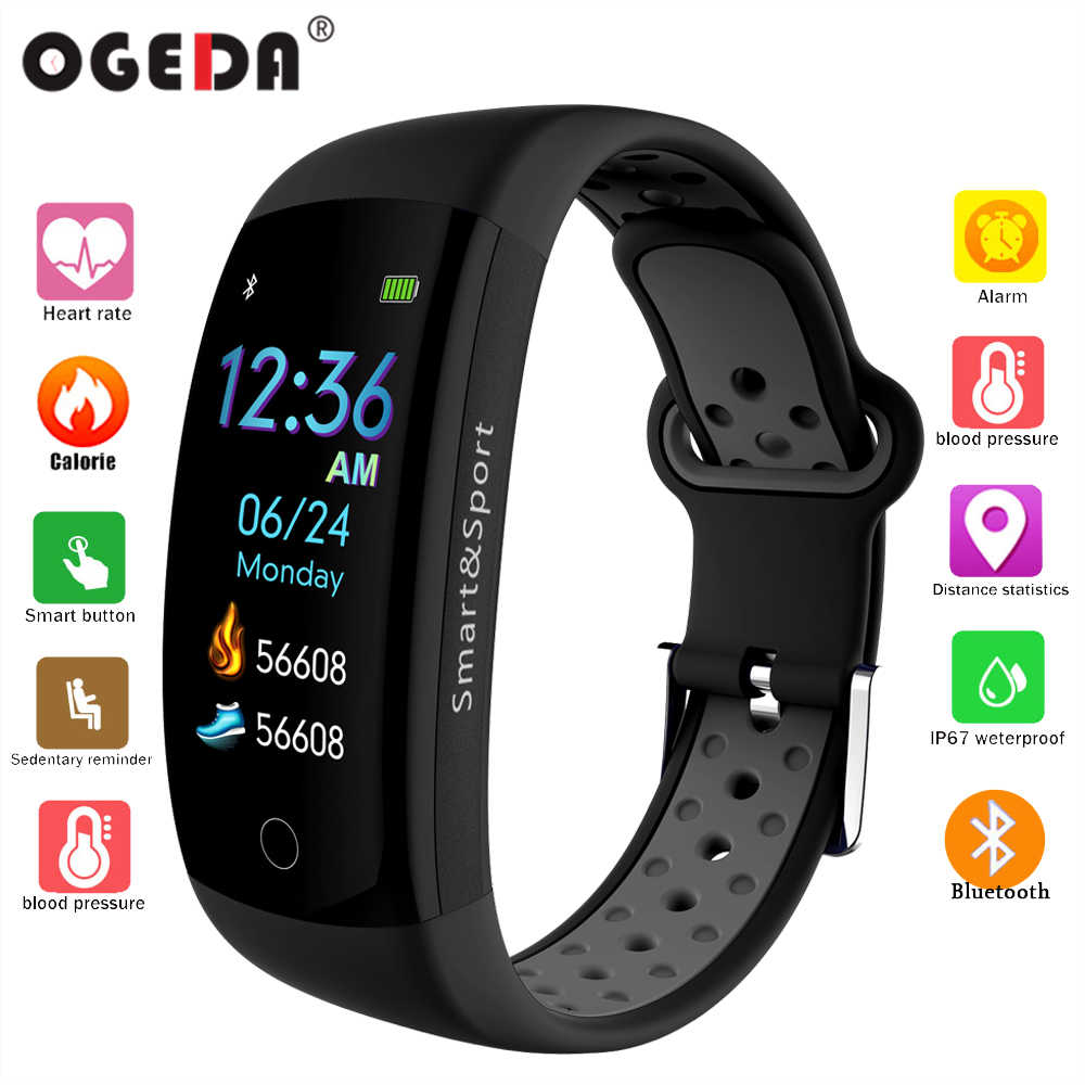 OGEDA Fitness Luxury Smart Watch IP68 Waterproof Sport for Android / IOS heart rate monitor Blood pressure Pedometer smart watch
