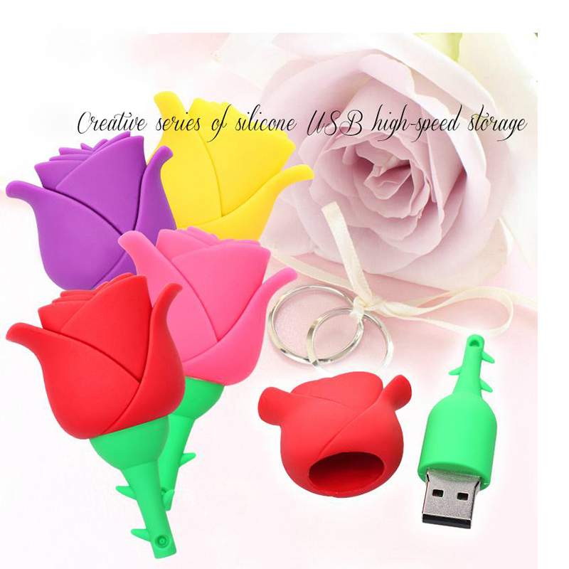 flower USB flash drive Pen Drive16GB fashion Rose USB drive 8GB pendrive 32gb 64gb memory drive stick best gift for girl women