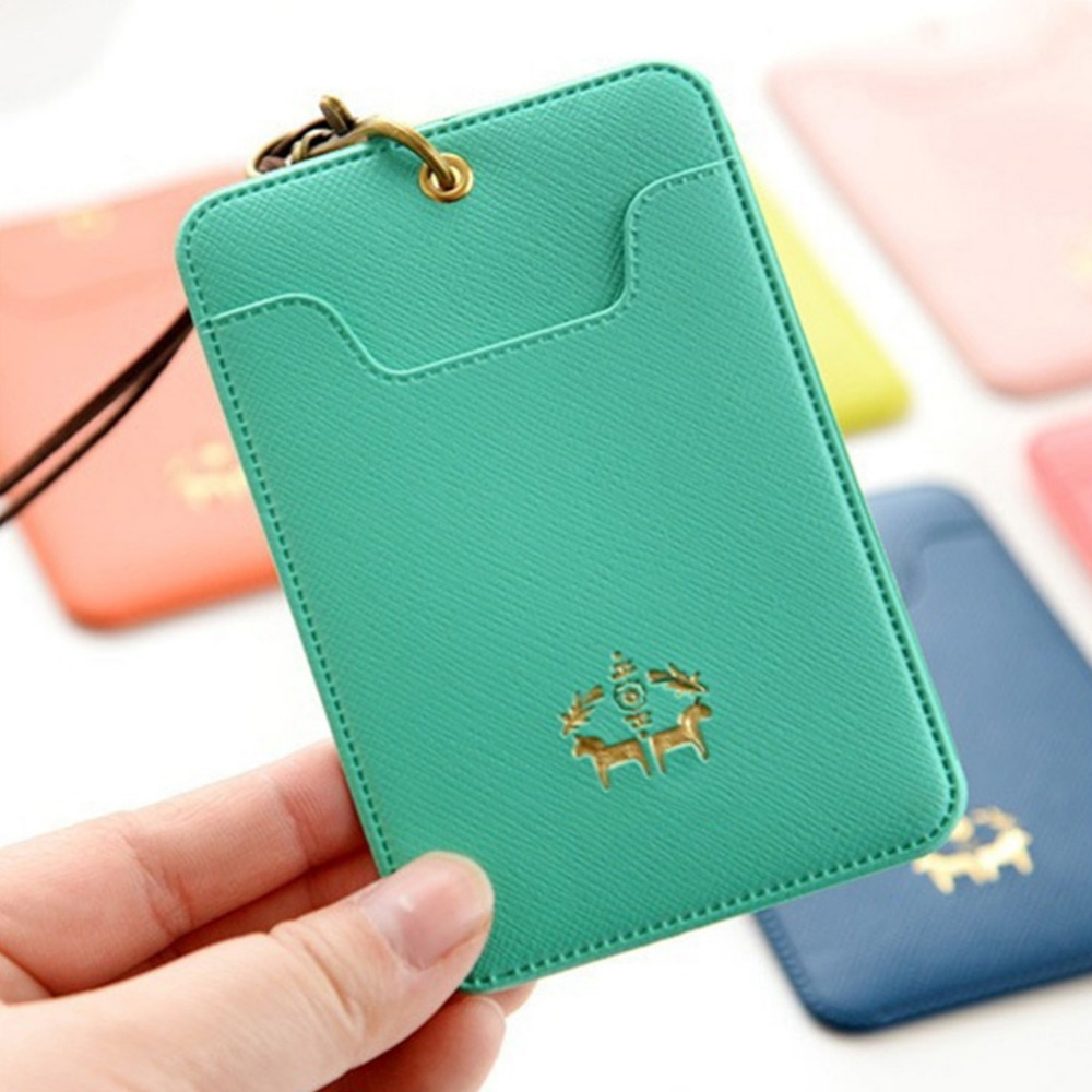 Name badge card case business card holder pu leather passport bus name badge card case business card holder pu leather passport bus card cover with buckle nack lanyard company office supply in card id holders from reheart Choice Image