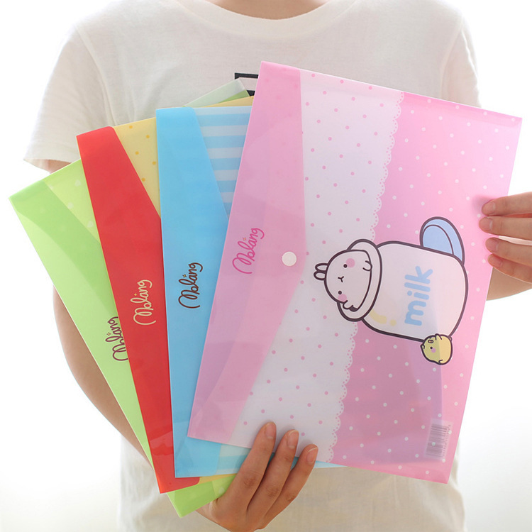 Stationery Molang Rabbit Test Paper A4 File folder briefcase document Bag portfolio/folder for office stationery/Wholesale