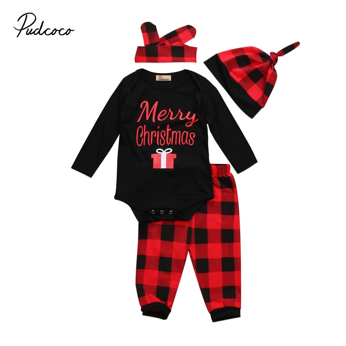 2017 Natal Pakaian Bayi Newborn Perempuan Rompers Lengan Baju Panjang Celana Kotak Merah Hitam Headband Topi 4 Pcs Katun Di Set
