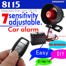 Universal 1-Way Car Alarm Vehicle System Protection Security Sound aloud Siren Burglar Vibration alarm CHADWICK 8115 accessories