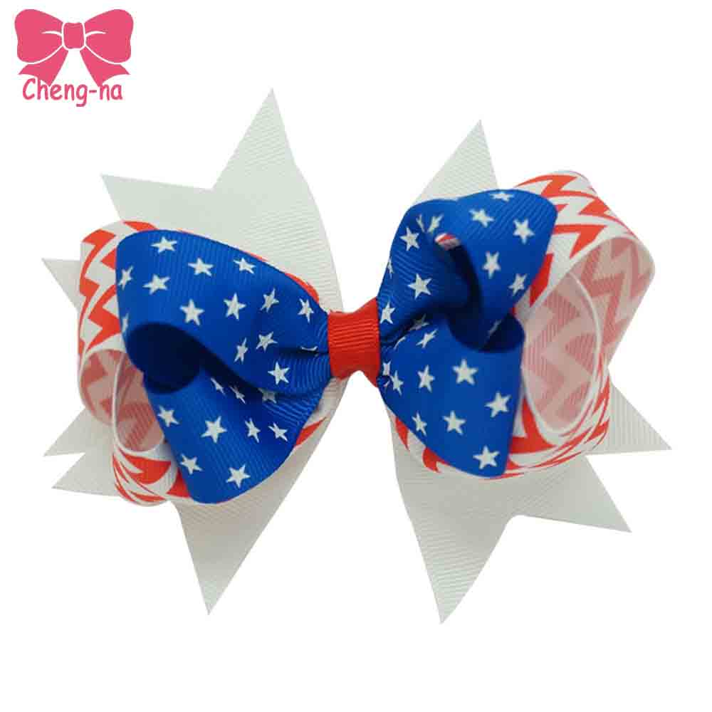 Stylish 5 Inch Grosgrain Ribbon Patriotic Hair Bow With Clip 4th Of July American Flag Hair Accessories 6pcs/lot american flag patriotic tee page 5