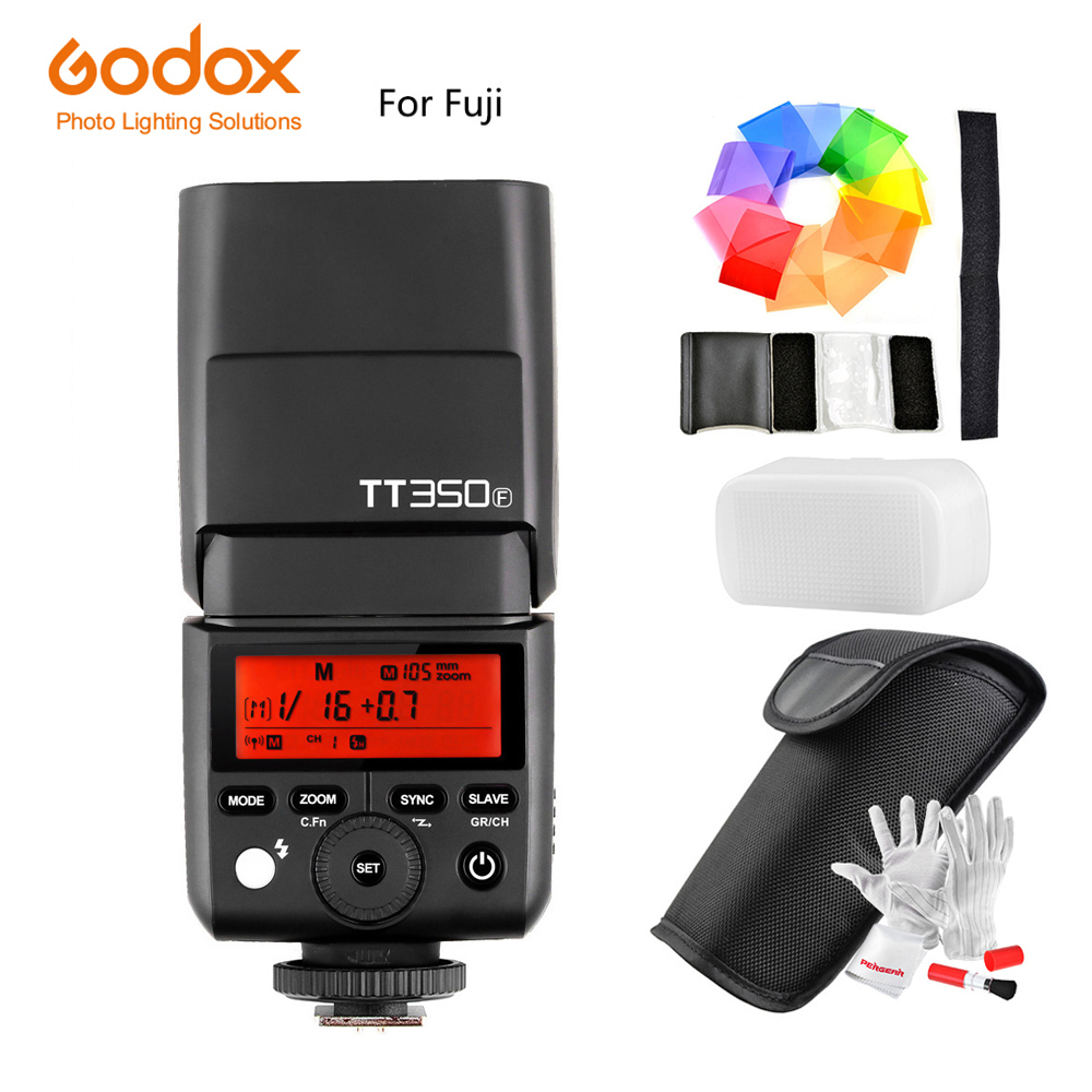 Godox TT350F for Fujifilm Mini Speedlite Flash TTL HSS GN36 1/8000S 2.4G Wireless System for Fuji / X1T-F Trigger Transmitter godox flash tt350f fuji ttl hss 2 4ghz 1 8000 s gn36 mini speedlite flash for fujifilm dslr camera free shipping