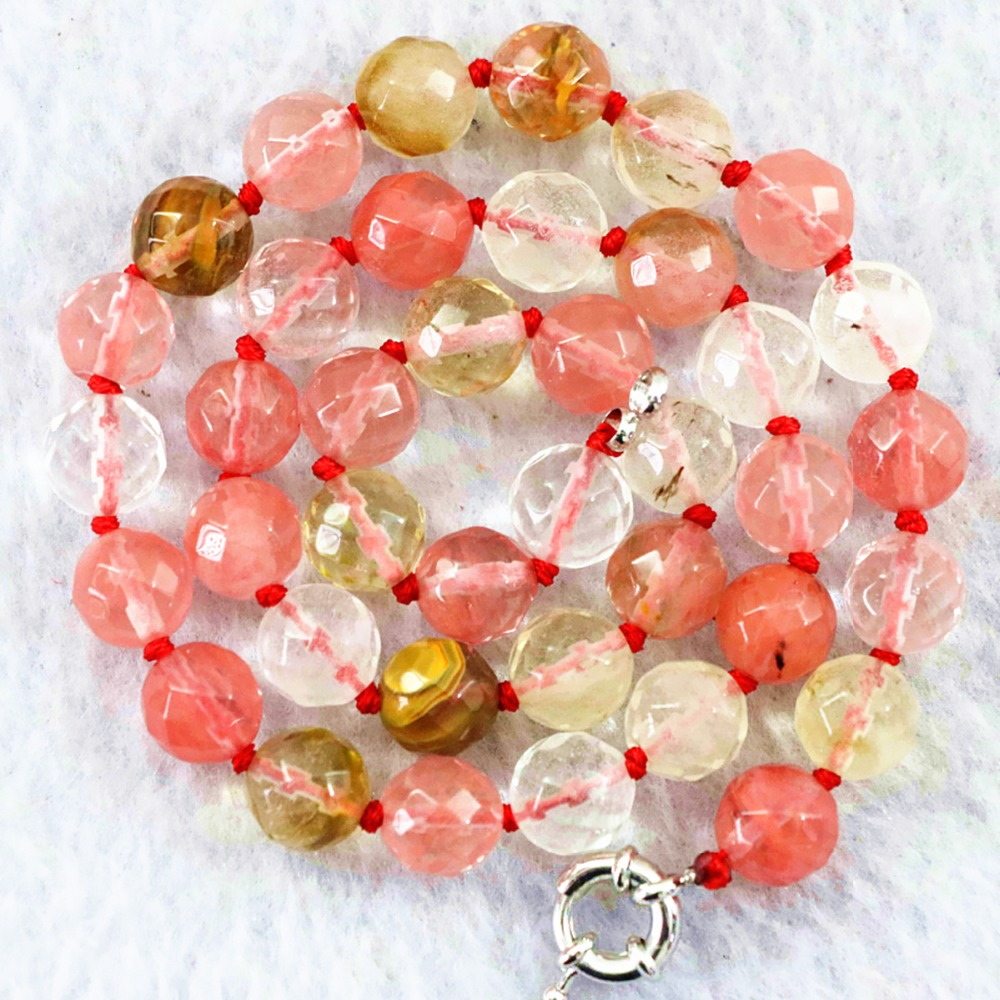 Faceted round beads necklace watermelon tourmaline multicolor stone crystal 8mm rainbow chain choker jewelry 15inch 18FR16