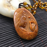 Buddhist Natural Yellow Dragon Stone hand carved Guanyin Male Pendant Buddha Necklace Female Amulet Sweater Chain Gift Dropship