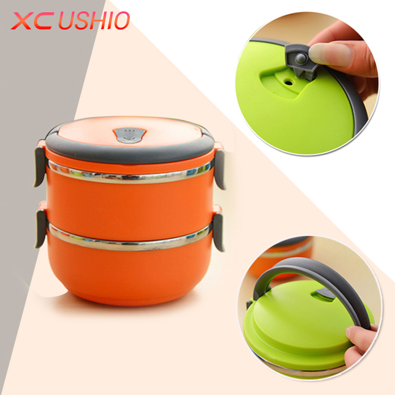 double layers round thermal lunch container with handle leakproof crisper bento container for. Black Bedroom Furniture Sets. Home Design Ideas