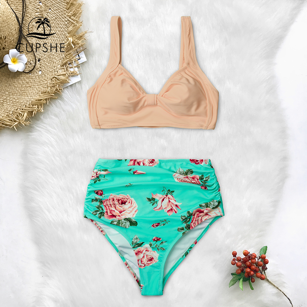 CUPSHE Pink And Green Floral High-waisted Bikini Sets Women Heart Neck Cute Two Pieces Swimsuits Women Sexy Beach Bathing Suits 2