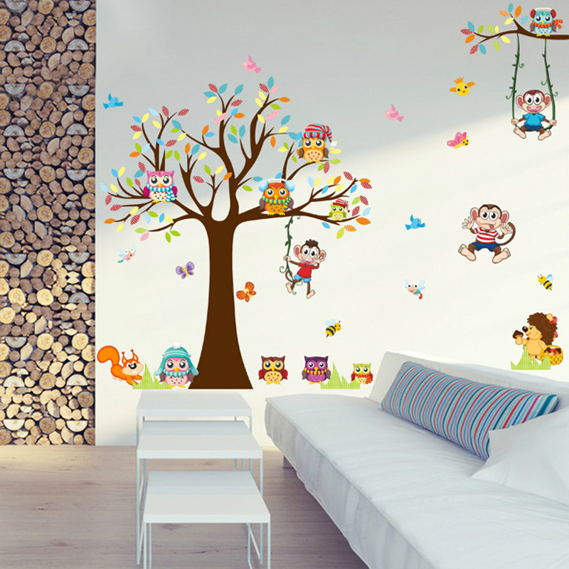 DIY Trees Monkey Owl Cute Animal Wall Sticker For Kids Rooms Living Room Bedroom PVC Mural Big Large Wall Picture For Home Decor