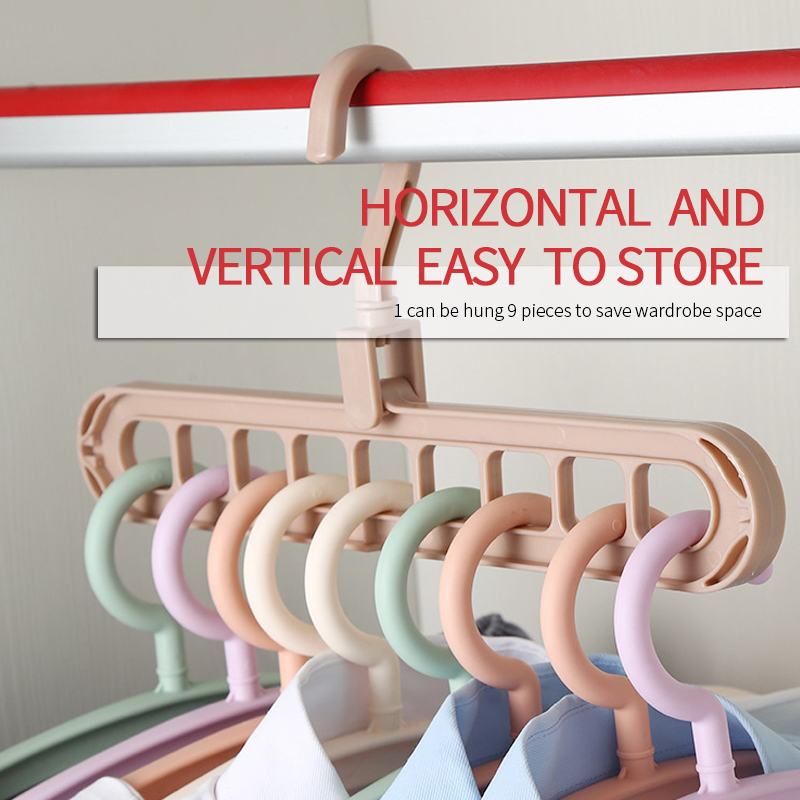 Plastic Nine-hole Multilayer Magic Clothes Hanger Multi-poort Storage Racks Hangers Anti-Slip Home Clothes Hangers Organizer(China)