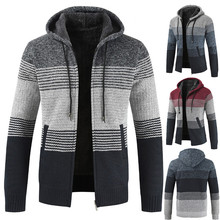 d296a31d1 Slim Striped Tops Sweater Blouse Men's Casual Autumn Winter Zipper Fleece  Hoodie Outwear Coat #0912