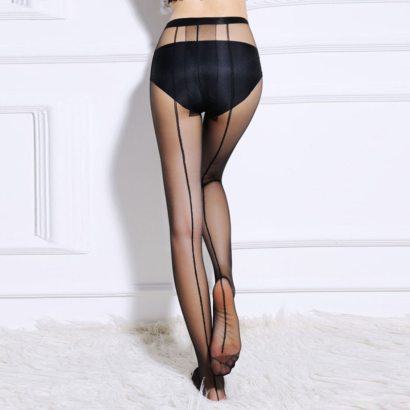 WmcyWell Hot Sale Womens Summer Sexy Ultra Sheer Core-spun Silk Pantyhose Tights Fashional One Line Design Tights Stocking