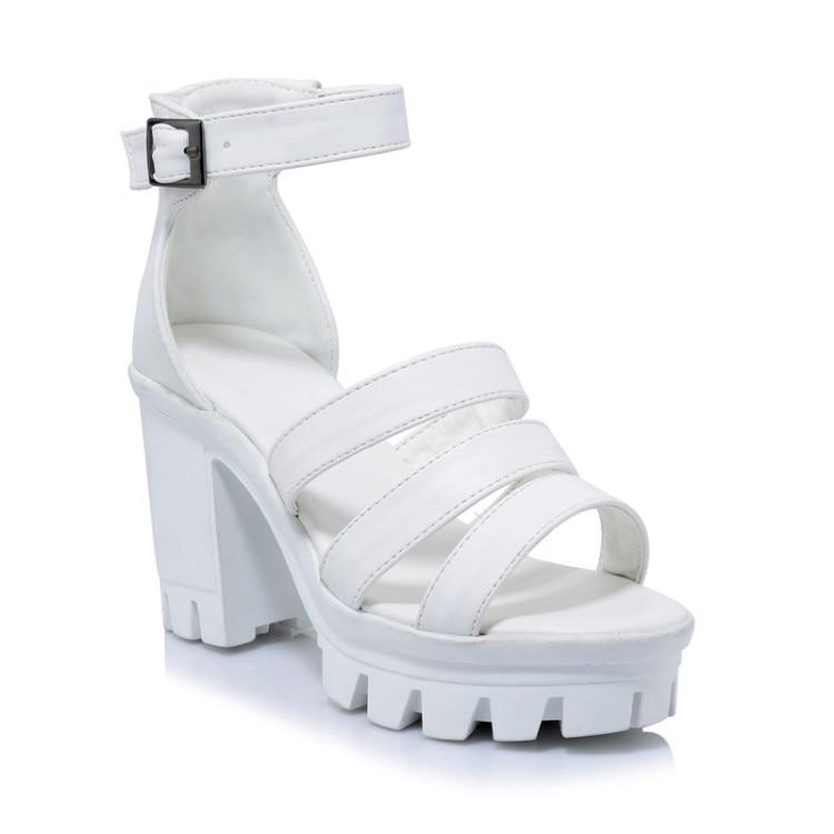 Talons Super Chaussures Dame Respirant Sangle Été Gladiateur Blanc white Femme Haute En Pu Chunky Cuir Plate Noir Black Sandale Boucle Sandales forme EzEqHp7