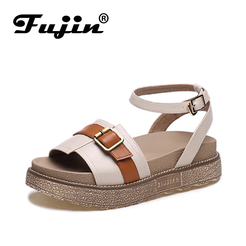 Fujin Brand 2018 Platform Shoes Sandals for Women Beach Shoes Leather Soft Sole Female Footwear for Lady Summer Shoes fujin brand 2018 summer shoes for women platform sandals with high heel lady leather shoes footwear pink leather slip on sandals