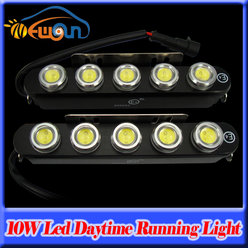 ФОТО New Waterproof 5-LED DRL Eagle Eyes Super bright white 10W Led Daytime Running Light Reverse Backup Light