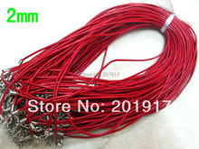 """Free Shipping !! 18"""" 100PCS Red Real Leather Necklace Rope cord jewelry String Chain Thread cords 2mm Jewelry DIY Accessories"""