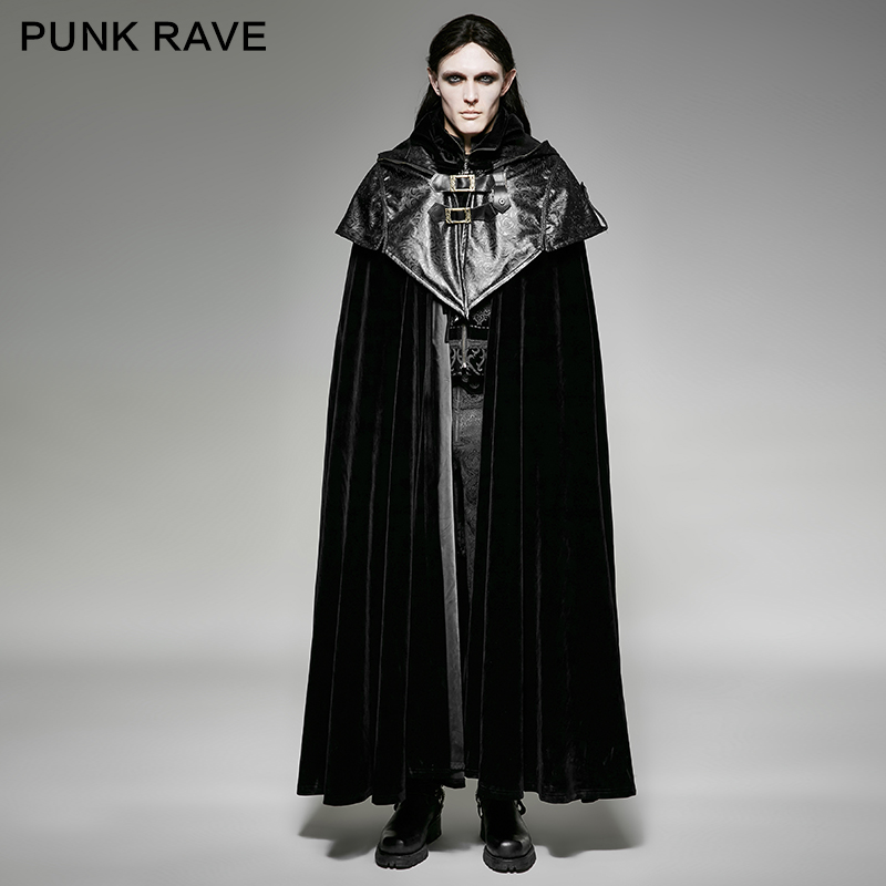 PUNK RAVE Gothic style hoodie cape long coat black cape long coat Y 693