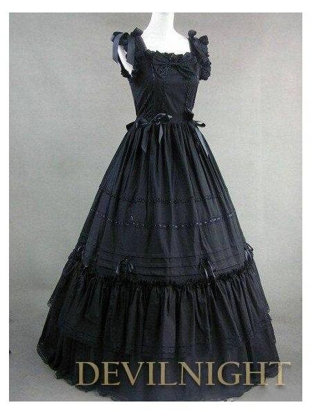 Black Sleeveless Long Gothic Lolita Ball Gowns