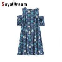 Women Silk Dress 100 Natural Silk Drop Shoulder Sleeve Print Dresses Cut Knee Length Summer Dress