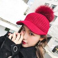 1pcs Pompom Winter Hats For Women Solid Color Knitted Baseball Cap Hat Snapback Caps Adjustable Baseball